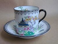 ROYAL DOULTON PAGODA PATTERN H1426 COFFEE CUPS & SAUCERS (Ref2019)