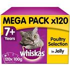 120+x+100g+Whiskas+7%2B+Senior+Wet+Cat+Food+Pouches+Mixed+Poultry+in+Jelly