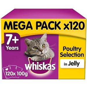 120 x 100g Whiskas 7+ Senior Wet Cat Food Pouches Mixed Poultry in Jelly