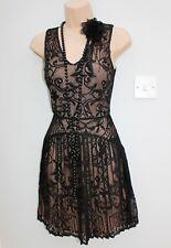 Warehouse Size 8 20s Gatsby Flapper Charleston Vintage Style Black Lace Dress