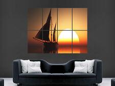 BARCA a vela tramonto sul mare oceano ART enorme Grandi FOTO POSTER GIGANTE