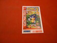 Sonic the Hedgehog 3 Sega Game Genesis Tip Card RARE