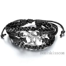 Infinity Love Heart Charm Leather Braided Adjustable Bracelet Handmade Jewelry