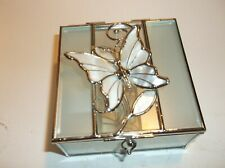 BUTTERFLY THEMED GLASS TRINKET BOX - BEAUTIFUL UNUSED CONDITION