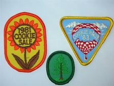 3 Girl Scout Patches 1981 Cookie Sale 1983 Cookie Rally Oval Pine Tree Crest NOS