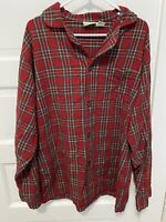 LL Bean Red Men's Plaid Flannel Pajama Size L Large Tall Button Up Shirt Cotton