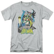 Batman Robin T-shirt SuperFriends retro 80s cartoon DC grey graphic tee DCO122
