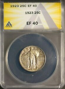 1923 25C Silver Liberty Standing Quarter XF 40 ANACS # 7230179 + Bonus