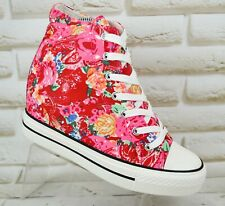 BESTELLE Womens Floral Canvas Hidden Wedge Trainers Sneakers NEW Size 4 UK 37 EU
