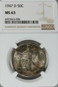 1947 D 50C NGC  MS 63    Walking Liberty Half Dollar