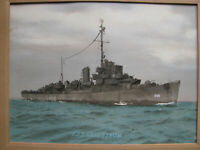 WWII USS SELLSTROM DESTROYER ESCORT DE-255 Photo Tinted O.W. WATERMAN SAN DIEGO