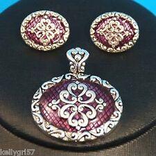 Purple Oval Filigree Scroll Fashion Jewelry Pretty Pendant & Earrings Set #428