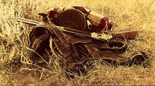 """""""1880s Still Life of Saddle and Rifle"""" by James Bama"""