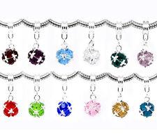 60 Mixed Birthstone Dangle Beads Fit Charm Bracelet