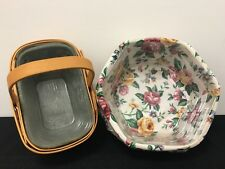 Longaberger 2002 Basket With Fixed Handle & 2000 Hexagon Basket with Rose Liner