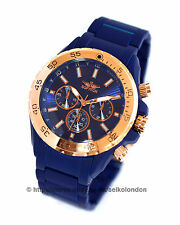 Softech Gents Blue Dial Watch. Blue Matt Case/Bracelet, Rose Gold Detailing