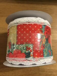 """The PIONEER WOMAN CHEERFUL ROSE PATCHWORK 3"""" Ribbon 21ft Each"""