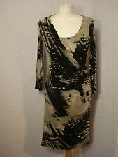Wallis petite black & beige/green patterned jersey dress 8-10