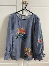 Zara Women's Denim Stripe Embroidered Blouse SIZE SMALL Excellent Condition
