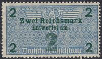 Stamp Germany Revenue WWII 3rd Reich Bill Exchange Fiscal Tax 2 Mark MNH