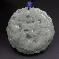 Certified Grade A 100% Natural Green Jadeite Jade Pendant Hand-carved Dragon 012