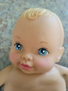 """Vintage 1990 Lauer Toys 12"""" Rubber Water Baby Doll Nude Blonde Hair Blue Eyes"""