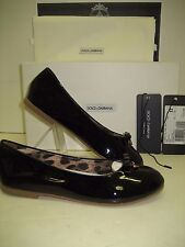 $450 NIB Dolce&Gabbana D&G Big Girls Youth US 2 Black Leather Flats Ballet Shoes