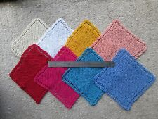 3 x handmade 100% cotton large size dishcloths dish cloths 8 - 9 inch 20 - 22cm