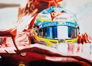 Alonso Ferrari Cockpit Helmet HAND SIGNED by Artist CANVAS Art Print Wall Poster