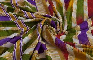 Vintage Faux Soie Sari Rayure Tissu Imprimé Indien Dcor Robe Enveloppement Art
