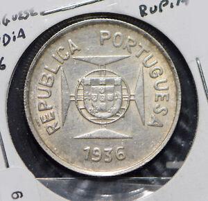 Portuguese India 1936 1/2 Rupia 292179 combine