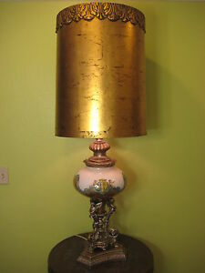 """Large Vintage Italy Art Glass & Gold Metal Angels Stand Table Lamp, 33 1/2"""" Tall"""