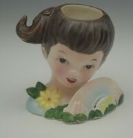 VINTAGE CERAMIC YOUNG GIRL BRUNETTE LADY HEAD VASE HEADVASE  3""