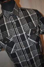 Vintage Lee Cooper black check short sleeve western shirt size small