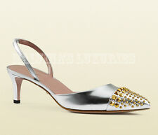 $650 GUCCI SHOES STUDDED SILVER LEATHER GOLD METAL STUDS SLINGBACKS IT 36.5 6.5