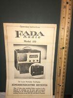 Fada Radio Operating Instructions&schematic.Model 100
