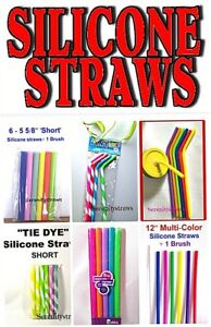 SILICONE STRAWS, Long, Short, Wide, Narrow, Straight, Bent Styles, Reusable