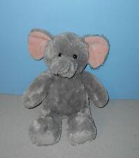 "16"" Aurora Jungle Baby Elephant Gray w/ Pink Ears Soft Huggy Stuffed Plush"