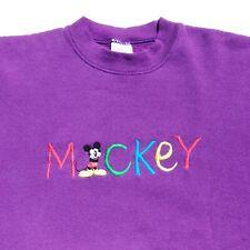 Mickey & Co Vintage Disney Mickey Mouse Sweatshirt Purple Embroidered Usa Xl