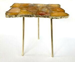 Golden Brown Agate Crystal Gemstone Quartz Organic Edge Side Drink Coffee Table