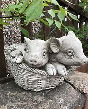 Pair pigs in basket garden stone ornament cute flower planter piglet strawberry
