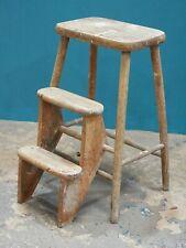 Vtg Rustic Country Folding Kitchen Wooden Steps Stool Ladder Decorative PROP-254