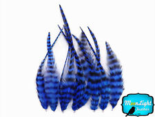 1 Dozen - SHORT ROYAL BLUE Grizzly Rooster Hair Extension Feathers
