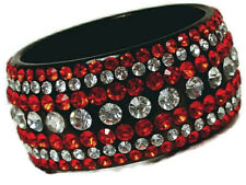 Red Cubic Zirconia with Additional Clear Crystal Extra Wide Bangle Bracelet