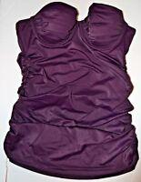 Victoria's Secret Womens Bikini Top 34A Tankini Plum FOREVER SEXY Strapless Pads