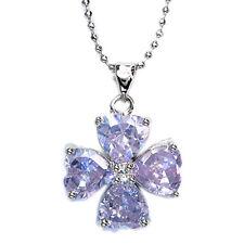 Xmas Gifts Heart White Gold GP Rhinestone Crystal flower Pendant Free Necklace