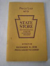 December 9, 1935 Pennsylvania State Store Price List No. 9