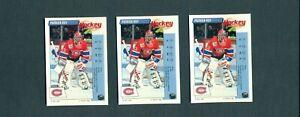 1992-93 PANINI Patrick Roy 3 card Lot NM-MT Canadiens