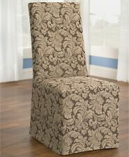 Sure Fit Scroll Long Dining Room Chair Slipcover, Brown