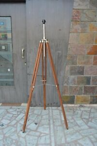 Antique Nautical Floor Lamp Stand Wooden Adjustable Tripod Home & Office Decor